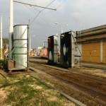 Myčka tramvají v Kobylisích